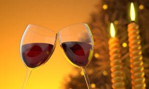 Kieliszki z winem i świece